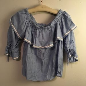 The Impeccable Pig off the shoulder chambray top